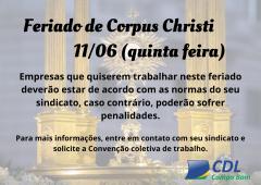11/06 - FERIADO DE CORPUS CHRISTI