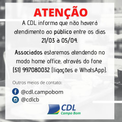 Atendimento ao público está suspenso na CDL até 05/04