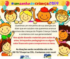 #umsonhodecriança 2019 - Para Projeto Criança Cidadã