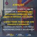 RETOMADA DA ATIVIDADE COMERCIAL AOS FINAIS DE SEMANA!